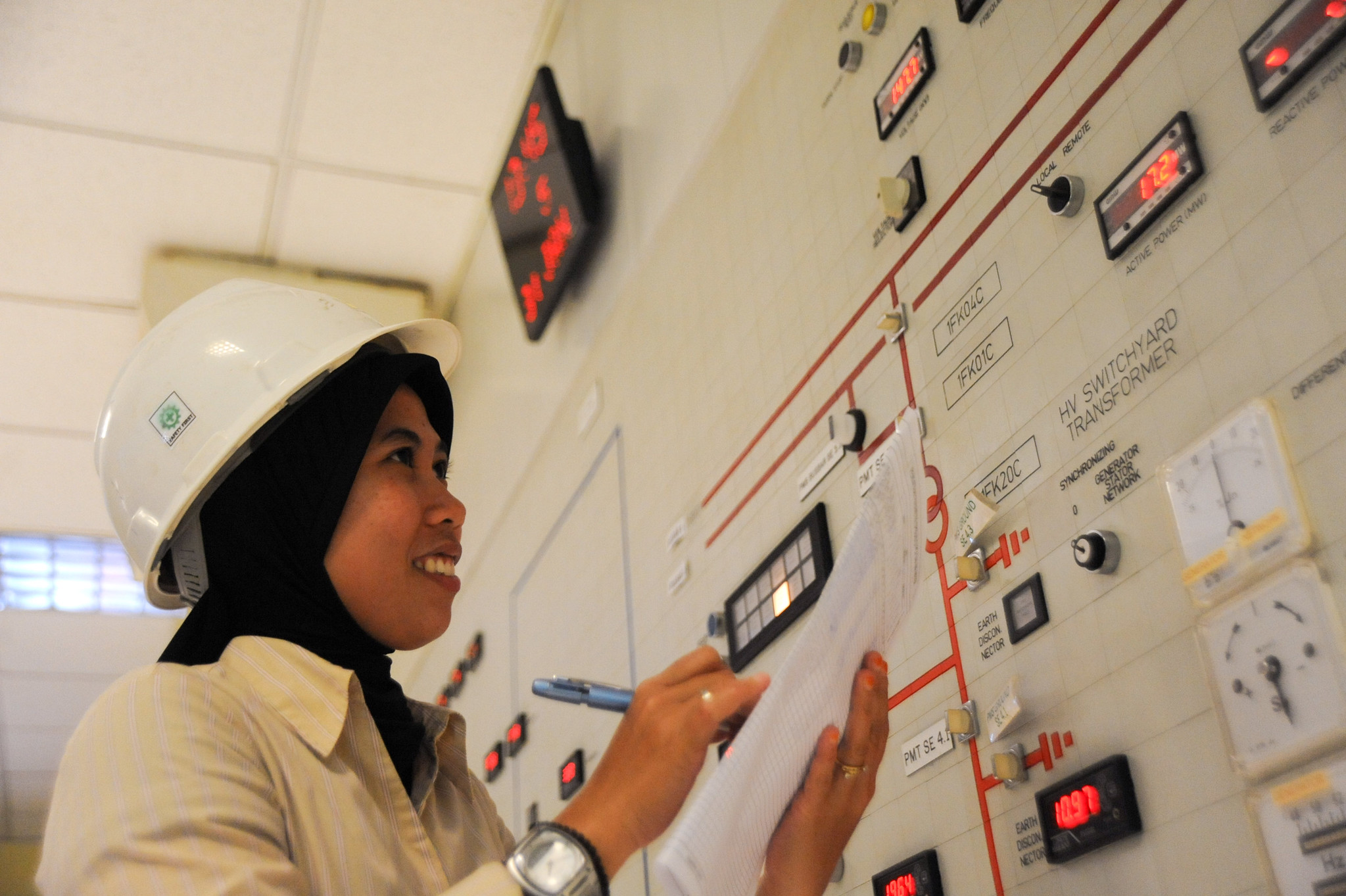 <p>A worker at Indonesia\'s Lahendong geothermal power plant. Photo by Asian Development Bank/Flickr.</p>