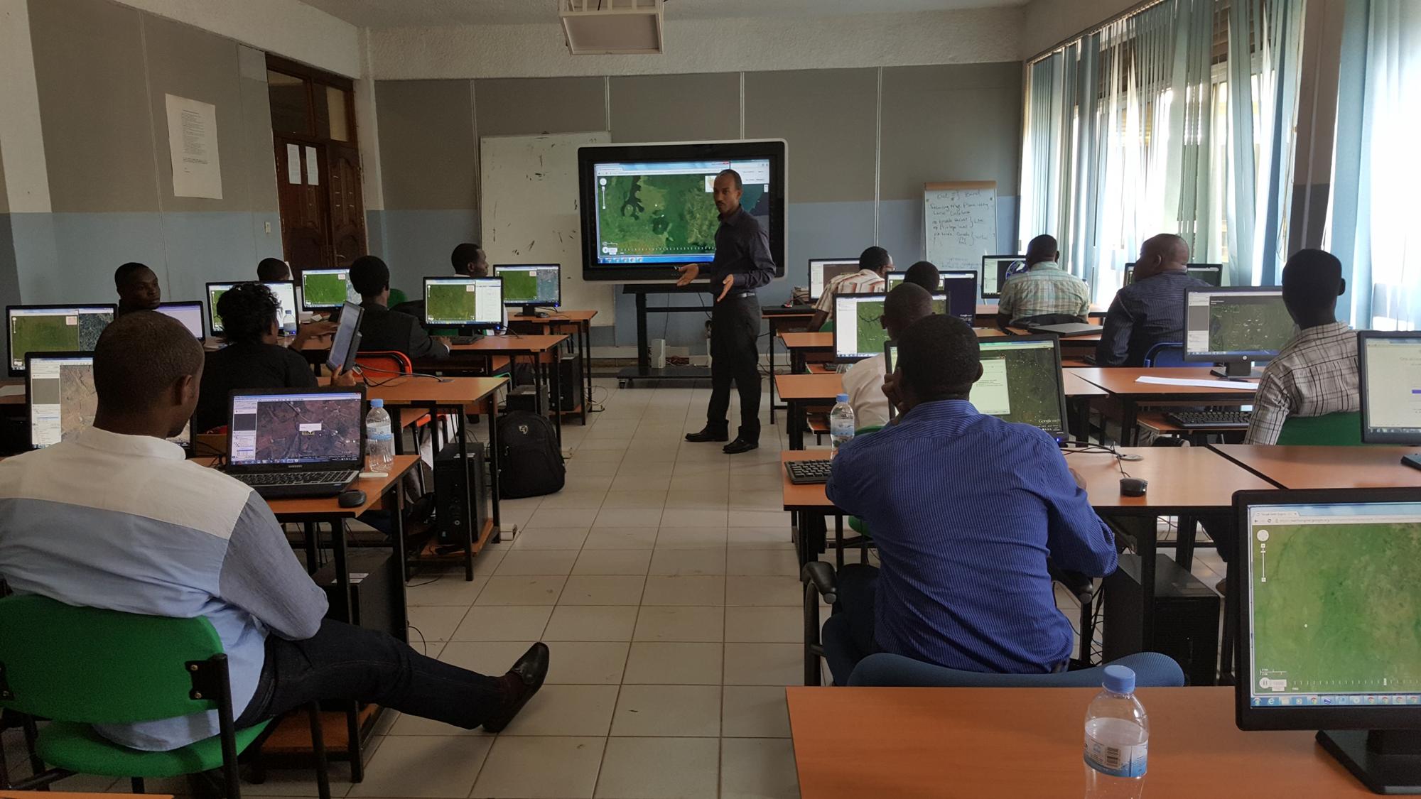 <p>A Collect Earth mapathon event in Gatsibo, Rwanda. Photo by WRI</p>
