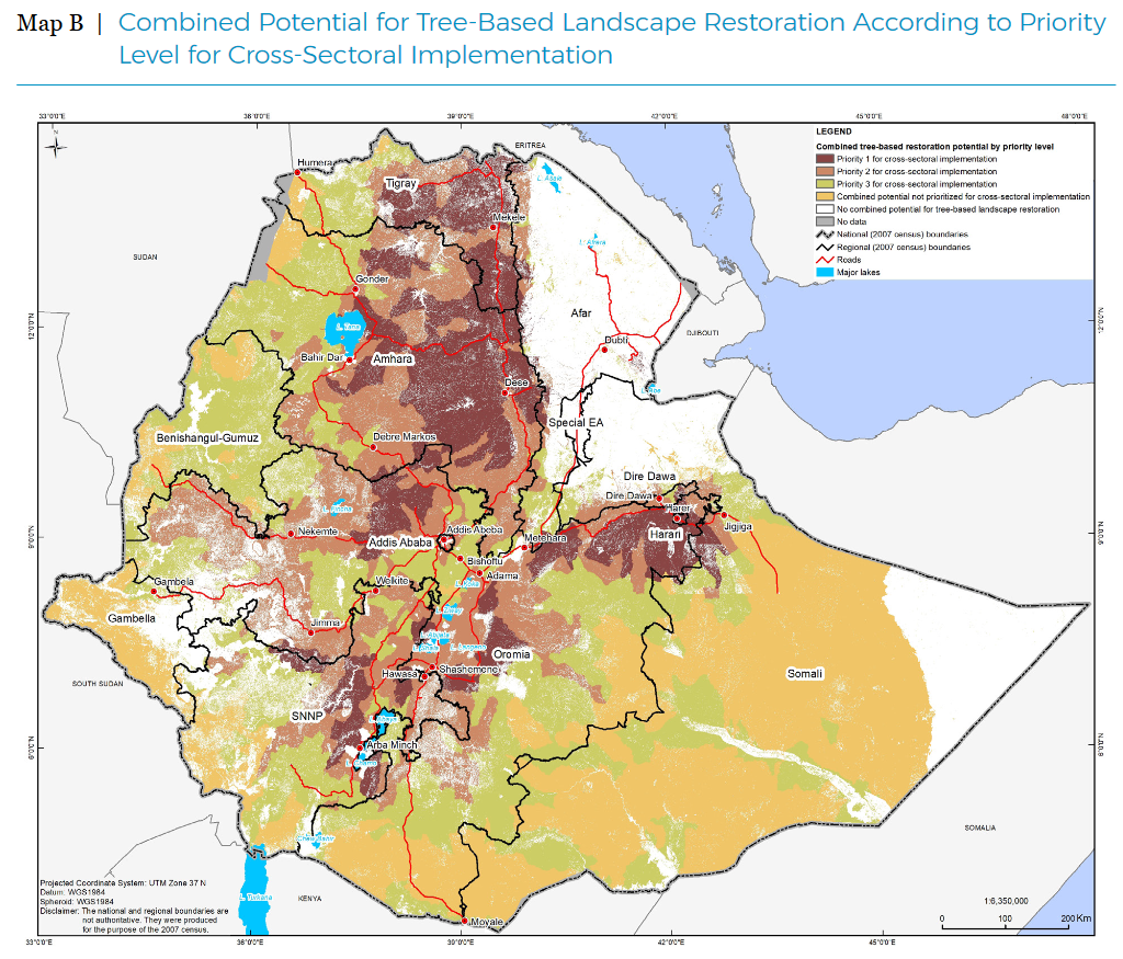 <p>In Ethiopia, the government chose priority areas for restoration at the national level. Photo by the Environment, Forestry, and Climate Change Commission (EFCCC)</p>