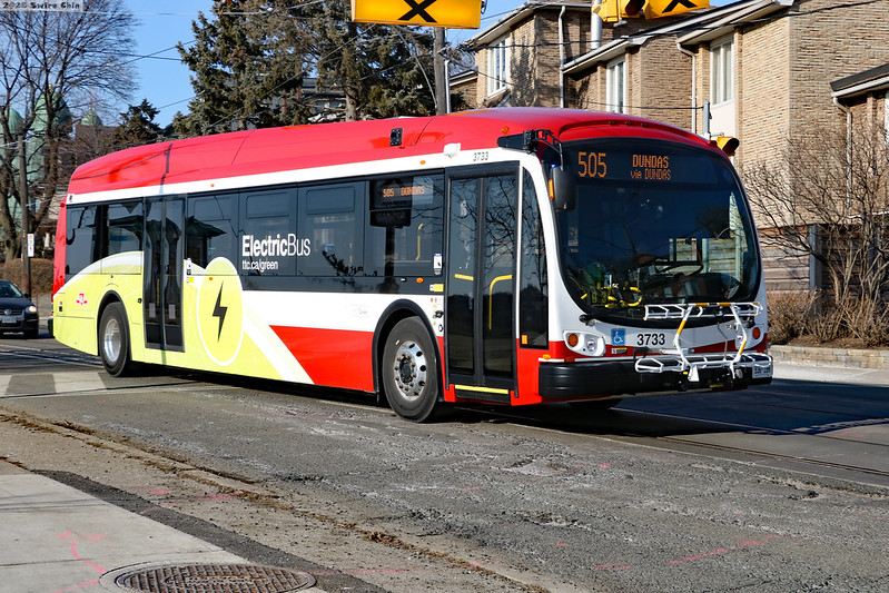 <p>E-bus in Toronto, Canada. Photo by Can Pac Swire/Flickr</p>